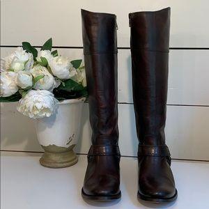 EUC Frye Melissa Harness Inside Zip Boots, Redwood